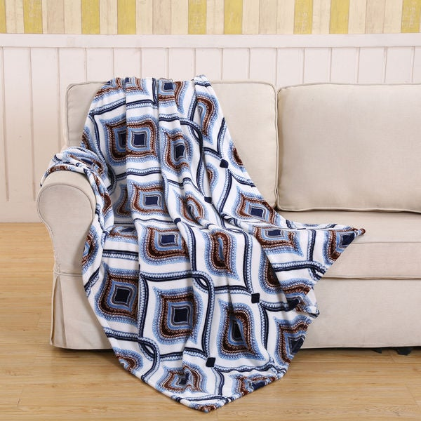 Blue Eye Geometric Plush Polyester Blanket