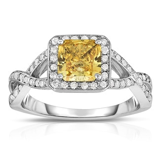 Solaura Collection 14k White Gold 1 1/3ct TDW Radiant-cut Lab-grown Diamond Halo Ring (Yellow, SI)