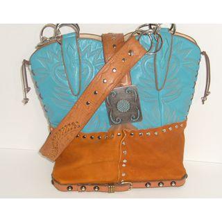 Aqua and Rust Cowboy Boot Tote Bag