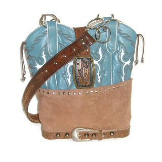 Tan and Blue Cowboy Boot Tote Bag