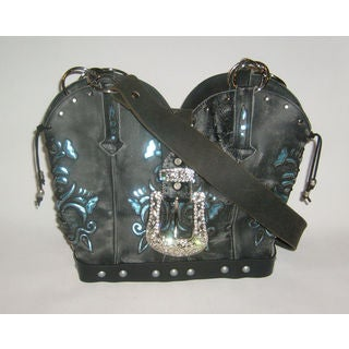 Black and Blue Leather Cowboy Boot Handbag