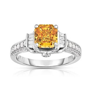 Solaura Collection 14kt White Gold 2ct TDW Radiant Cut Lab-Grown 3-sided Diamond Ring (Yellow)