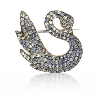 Suzy Levian Sterling Silver Blue and White Sapphire Swan Brooche