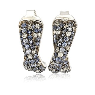 Suzy Levian Sterling Silver Sapphire Petite Crossover Pave Earrings