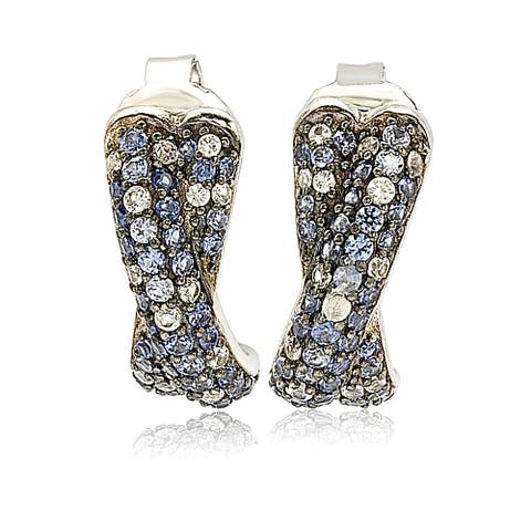 Suzy L. Sterling Silver Sapphire Petite Crossover Pave Earrings - Blue