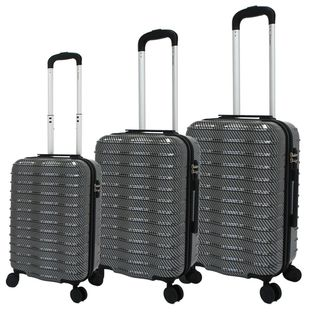 Chariot Wave 3-piece Black Hardside Lightweight Spinner Luggage Set