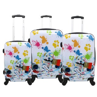 Chariot Paint Doggie 3-piece Hardside Lightweight Upright Spinner Luggage Set