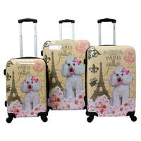 Chariot Paris Doggie 3-piece Hardside Lightweight Upright Spinner Luggage Set