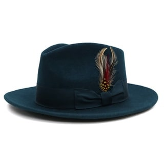 Ferrecci Men's Teal Lined Wool Fedora Hat