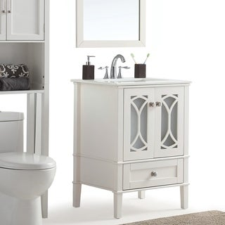 WYNDENHALL Mulberry White Quartz Marble Top White Bathroom Vanity