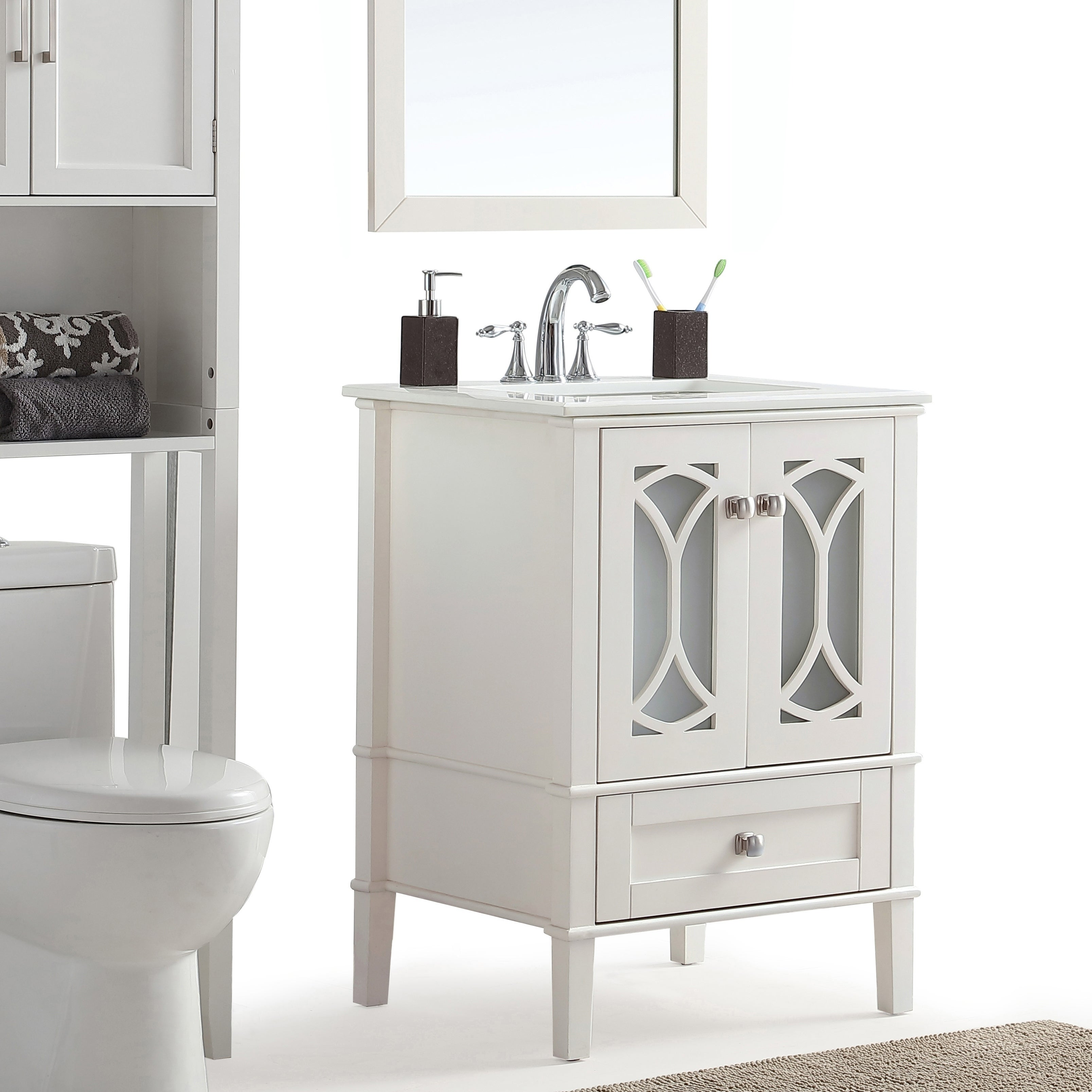 Wyndenhall Mulberry 24 Inch Contemporary Bath Vanity In Soft White With Engineered Quartz Marble Top