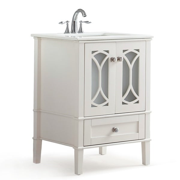 Mulberry 24 inch Bath Vanity in Soft White with White Engineered Quartz Marble Top