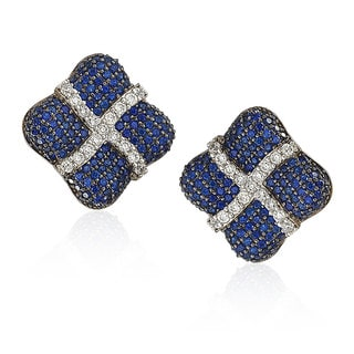 Suzy Levian Sterling Silver Blue and White Sapphire Wrapped Cushion Earrings