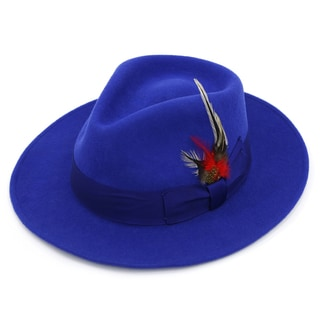Ferrecci Premium Men's Royal Blue Wool Fully Lined Fedora Hat