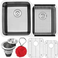 """32"""" Ticor S1205 Haven Series 16-Gauge Stainless Steel Undermount Double Basin Kitchen Sink with Accessories"""