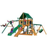 Gorilla Playsets Frontier Cedar Swing Set with Sunbrella Canvas Canopy and Timber Shield Posts
