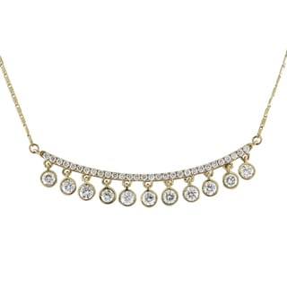 Beverly Hills Charm 14K yellow Gold 1ct TDW Diamonds Curved Bar Necklace (H-I, SI2-I1)