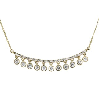 14k yellow Gold 1ct TDW Diamonds Curved Bar Necklace