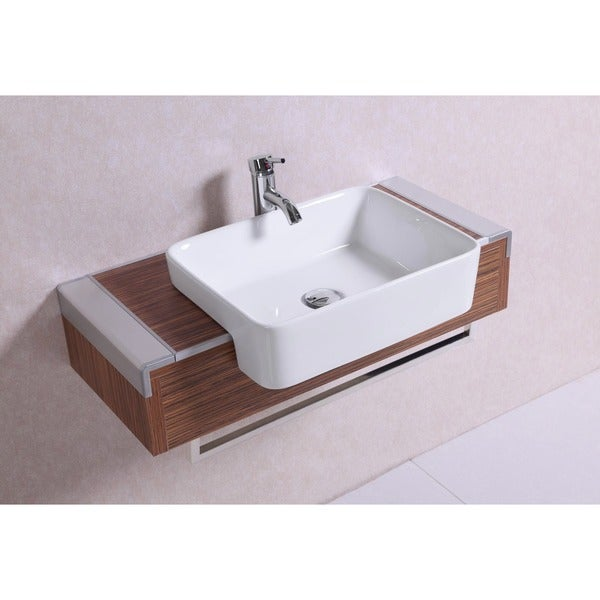 Shop 32 Inch Belvedere Modern Wall Mounted Veneer Bathroom Vanity