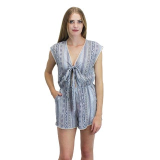 Relished Women's Blue Cotton Front-tie Romper