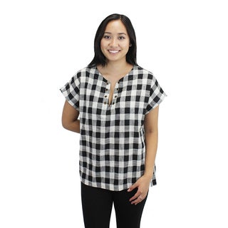 Relished Women's Black and Ivory Cotton Checkered Top