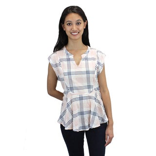 Relished Women's Blush Plaid Cotton Peplum Top