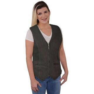 Women's Denim Zipper-front V-neck Vest