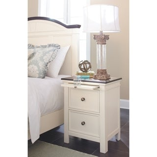 Signature Design by Ashley Woodanville White Two Drawer Night Stand