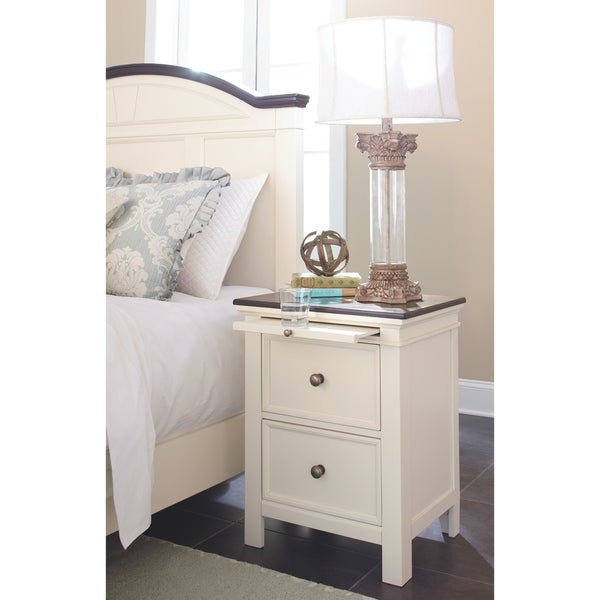 Shop Woodanville White Two Drawer Night Stand Free Shipping Today Overstock 14280795