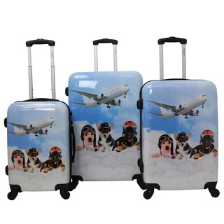 Chariot Doggie Pilots 3-piece Hardside Lightweight Upright Spinner Luggage Set