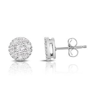 Noray Designs 14k Gold 1/3ct TDW White Diamond Halo Stud Earrings (G-H, I1-I2)
