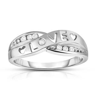 Noray Designs 14k Gold 1/10ct TDW White Diamond 'Love' Heart Ring