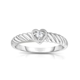 Noray Designs 14K Gold White Diamond Accent Heart Twisted Ring (G-H, I1-I2 Clarity)