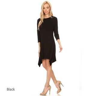 Women's Solid Rayon and Spandex Shirt Dress