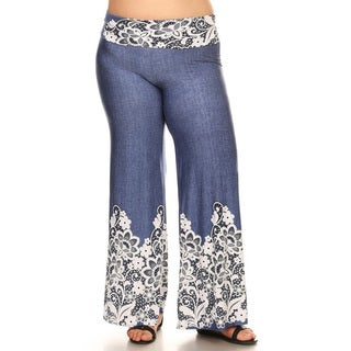 Women's Multicolored Denim Plus-size Pants with Floral Lace Overlay