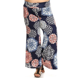 Women's Floral Medallion Rayon and Spandex Plus-size Pants