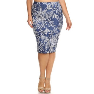 Women's Multicolored Denim Plus-size Pencil Skirt with Floral Embroidery