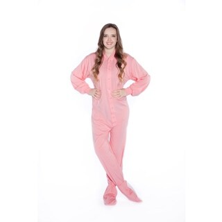 Pink Cotton Jersey Knit Unisex Adult Footed One-piecePajamas by Big Feet Pajamas