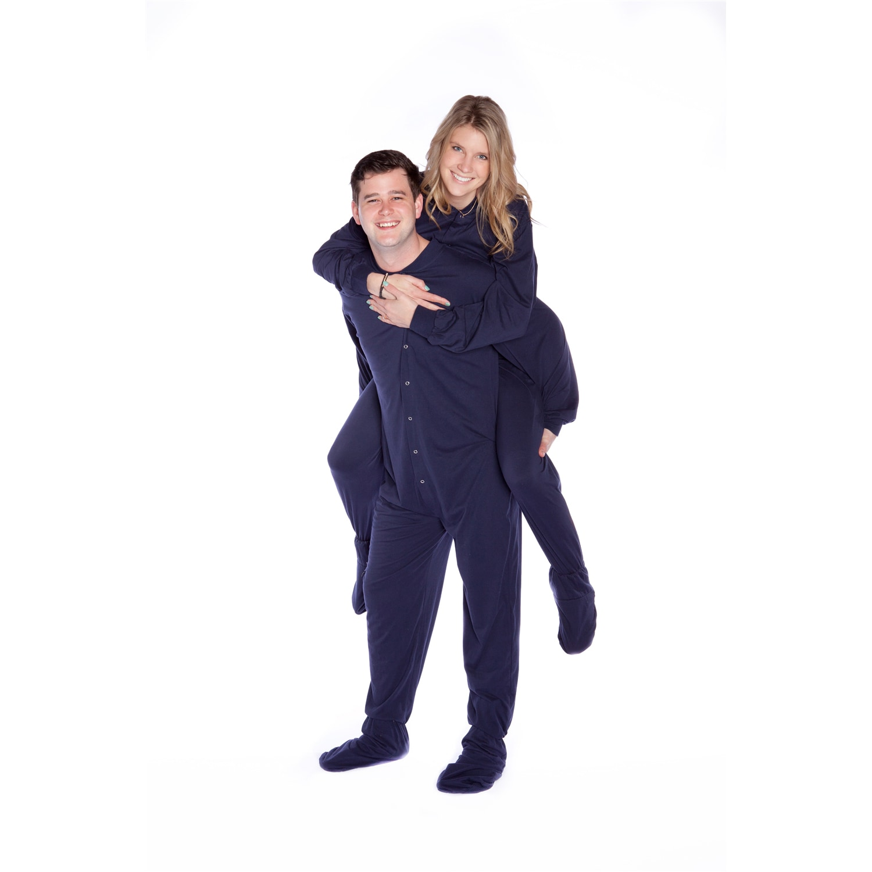 Adult Footed Pajamas Navy Blue Jersey Knit Big Feet Pjs