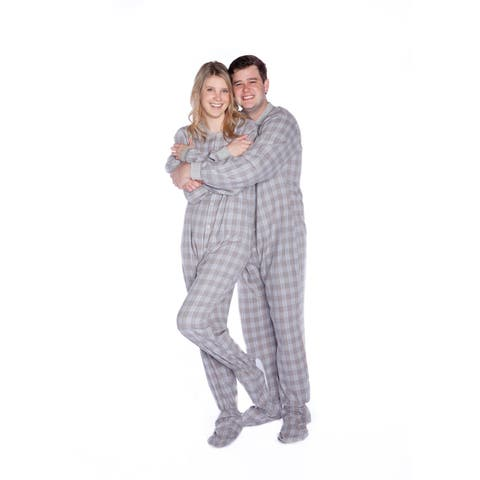 Grey & White Plaid Flannel Mens Adult Footed Pajamas Drop Seat Footed Sleeper