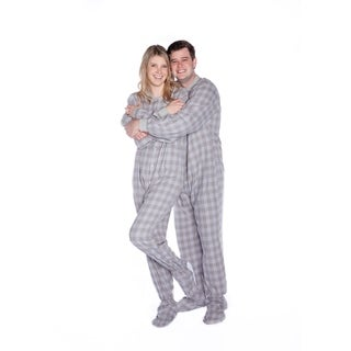 Big Feet Unisex Adult Grey and White Flannel Plaid Footed Drop Seat One-piecePajamas