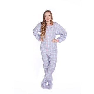 Baby Blue and Pink Plaid Flannel Unisex Adult Footed One-piece