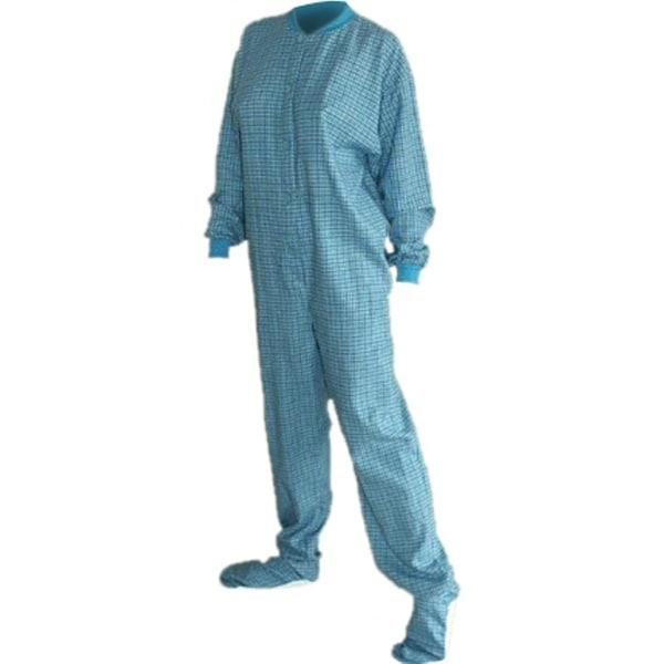 Turquoise Plaid Flannel Unisex Adult Footed One-pieceby Big Feet Pajamas