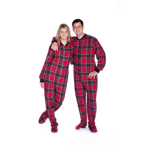 Big Feet Pajamas Men's Red and Black Plaid Flannel Adult Footed One-piecewith Drop Seat