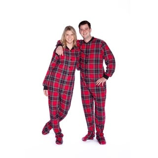 Big Feet Pajamas Men's Red and Black Plaid Flannel Adult Footed One-piecewith Drop Seat (5 options available)