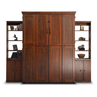 Queen Simple Murphy Bed and Two Door Bookcases in Cappuccino Finish