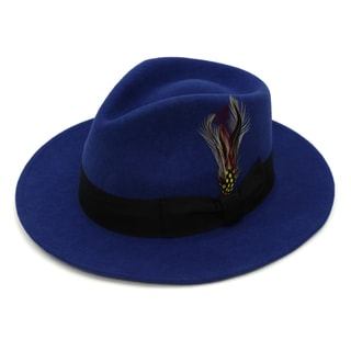 Ferrecci Men's Royal Blue Premium Wool Fedora Hat with Black Band