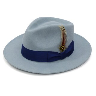 Ferrecci Men's Sky Blue Lined Wool Royal Blue Band Fedora Hat