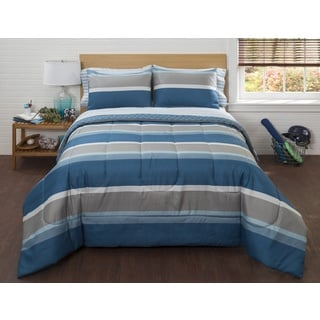 American Original Blue Liam Stripe 7-piece Bed in a Bag with Sheet Set