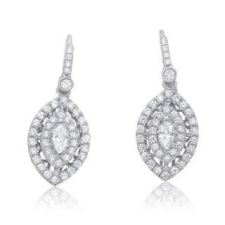 14k White Gold 1 1/4ct TDW White Diamond Marquise Earrings